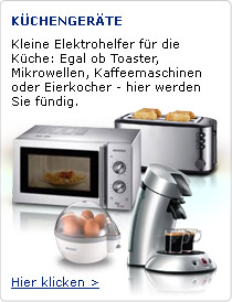 Kleine Elektrohelfer für die Küche: Egal ob Toaster, Mikrowellen, Kaffeemaschinen oder Eierkocher - hier werden Sie fündig.