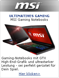Ultimatives Gaming - MSI Gaming-Notebooks mit GTX High-End-Grafik und ultrastarker Leistung.