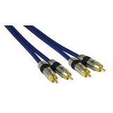 (€3,38*/1m) 5.00m InLine Audio Anschlusskabel Premium-Line 2xCinch Stecker auf 2xCinch Stecker Blau vergoldet