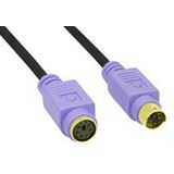(€2,45*/1m) 2.00m InLine PS/2 Anschlusskabel Stecker auf Buchse Schwarz vergoldet / violette Stecker