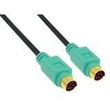 (€1,63*/1m) 3.00m InLine PS/2 Anschlusskabel Premium-Line PS/2 Stecker auf PS/2 Stecker Schwarz vergoldet / grüne Stecker