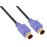 (€1,63*/1m) 3.00m InLine PS/2 Anschlusskabel Premium-Line Stecker auf PS/2 Stecker Schwarz vergoldet / violette Stecker