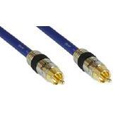 (€2,97*/1m) 3.00m InLine Audio Anschlusskabel Premium-Line Cinch Stecker auf Cinch Stecker Blau vergoldet