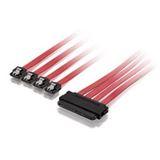 (€257,80*/1m) 0.50m Equip SAS Adapterkabel SFF-8484 Stecker auf 4xSATA Stecker Rot/Schwarz