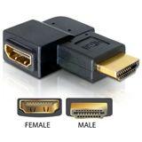 Delock HDMI Adapter 19pol Stecker/Buchse, gewinkelt