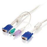 (€5,97*/1m) 3.00m LevelOne KVM Anschlusskabel VGA 15pol Stecker + PS2 Stecker + USB A Stecker auf VGA 15pol Stecker Schwarz