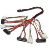 """(€127,80*/1m) 0.50m Digitus SAS Anschlusskabel SFF-8087 Stecker auf 4xSFF-8482 + 5,25"""" Molex Strom Stecker Rot/Schwarz"""
