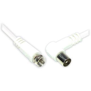 (€3,27*/1m) 1.50m Good Connections Antennenkabel F-Stecker auf Koax Stecker gewinkelt Weiß