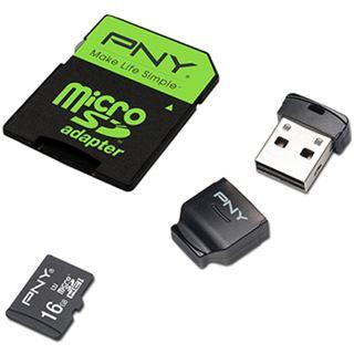 16 GB PNY High Performance microSDHC Class 10 Retail inkl. USB-Adapter und Adapter auf SD