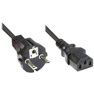 (€2,63*/1m) 3.00m Good Connections Stromkabel Anschlusskabel gewinkelt Schuko Stecker auf Kaltgeräte Buchse C13 Schwarz