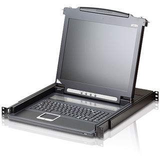 """ATEN Technology KVM CL1000M-ATA, Slideaway-43,18cm-(17"""")-LCD-Konsole, mit beleuchteter Tastatur (DE-Layout), für 48,26cm-(19"""")-Schrank"""