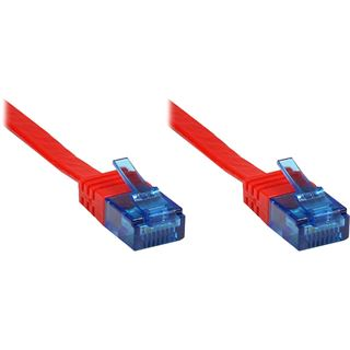 0.50m Good Connections Cat. 6a Patchkabel flach U/UTP RJ45 Stecker auf RJ45 Stecker Rot Knickschutzelement/vergoldet