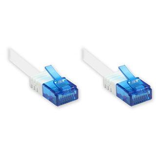 (€0,66*/1m) 15.00m Good Connections Cat. 6a Patchkabel flach U/UTP RJ45 Stecker auf RJ12 Stecker Weiß Knickschutzelement