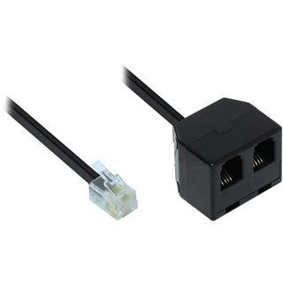 0,15m Good Connections Modular Verbinder Western-Stecker 4/4 auf 2x Western-Kupplung 4/4 schwarz