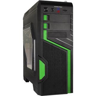 Cooltek GT-04 Green mit Sichtfenster Midi Tower ohne Netzteil schwarz