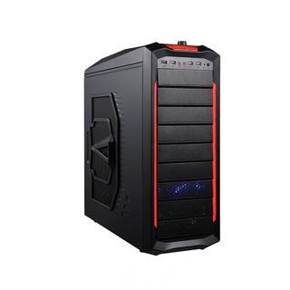 Delux MZ406 Midi Tower ohne Netzteil schwarz/rot