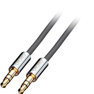 (€8,90*/1m) 1.00m Lindy Audio Verbindungskabel Cromo 3.5mm Klinken-Stecker auf 3.5mm Klinken-Stecker Grau/Silber