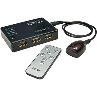 Lindy Compact HDMI Switch 5:1 Remote Full HD 1080p