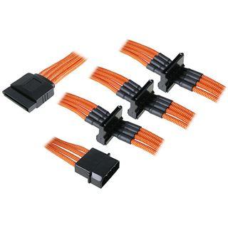 BitFenix Molex zu 4x SATA Adapter 20 cm - sleeved orange/schwarz
