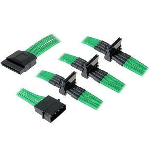 BitFenix Molex zu 4x SATA Adapter 20 cm - sleeved grün/schwarz