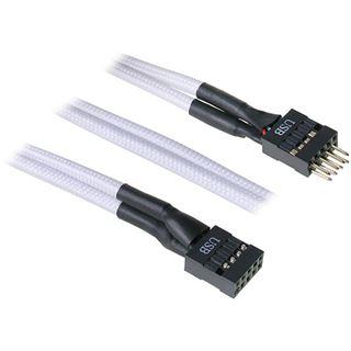BitFenix interne USB Verlängerung 30cm - sleeved weiß/schwarz