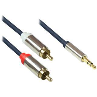 (€2,30*/1m) 3.00m Good Connections Audio Anschlusskabel doppelt geschirmt 2x RCA Stecker auf 3.5mm Klinke Stecker 3polig Blau vergoldete Stecker