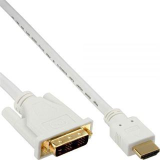 (€7,90*/1m) 1.00m InLine HDMI Adapterkabel HDMI-Stecker auf DVI 18+1 Stecker Weiß vergoldet