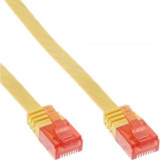 (€3,90*/1m) 1.00m InLine Cat. 6 Patchkabel flach U/UTP RJ45 Stecker auf RJ45 Stecker Gelb