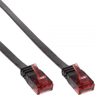 (€0,59*/1m) 15.00m InLine Cat. 6 Patchkabel flach U/UTP RJ45 Stecker auf RJ45 Stecker Schwarz