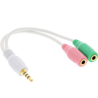 (€32,67*/1m) 0.15m InLine Audio Adapterkabel 3.5mm Klinke Buchse auf 2x3.5mm Klinke Stecker Weiß vergoldet