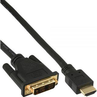 (€19,80*/1m) 0.50m InLine HDMI Adapterkabel Stecker auf DVI 18+1 Stecker Schwarz vergoldet