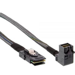 (€30,90*/1m) 1.00m InLine SAS 6Gb/s Anschlusskabel gewinkelt SFF-8643 Stecker auf SFF-8087 Stecker Schwarz mit Sideband