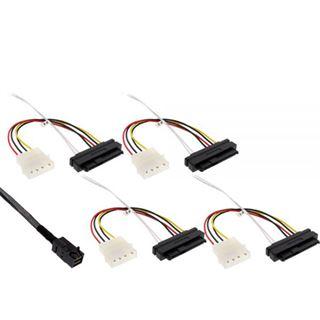 """(€87,80*/1m) 0.50m InLine SAS 6Gb/s Anschlusskabel SFF-8643 Stecker auf SFF-8482 Stecker + 5,25"""" Molex Strom Stecker Schwarz"""