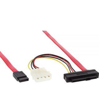 """(€15,80*/1m) 0.50m InLine SAS 6Gb/s Adapterkabel SATA Stecker auf SFF-8482 Stecker + 5,25"""" Molex Strom Stecker Schwarz"""