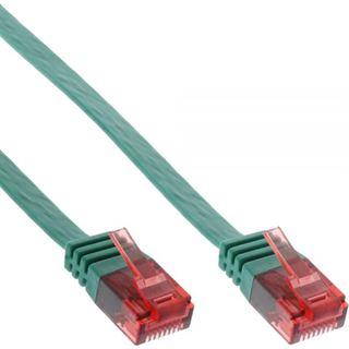 (€3,90*/1m) 1.00m InLine Cat. 6 Patchkabel flach U/UTP RJ45 Stecker auf RJ45 Stecker Grün