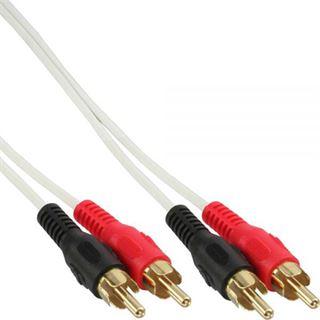 (€0,70*/1m) 7.00m InLine Audio Anschlusskabel 2xCinch Stecker auf 2xCinch Stecker Weiß vergoldet