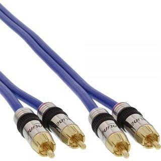 (€2,00*/1m) 25.00m InLine Audio Anschlusskabel Premium-Line 2xCinch Stecker auf 2xCinch Stecker Blau vergoldete Stecker