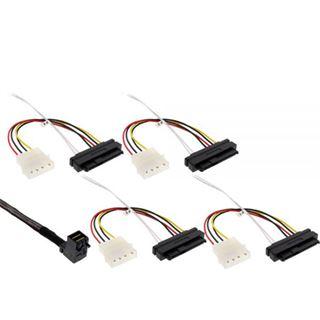 """(€85,80*/1m) 0.50m InLine SAS 6Gb/s Anschlusskabel SFF-8643 Stecker gewinkelt auf SFF-8482 Stecker + 5,25"""" Molex Strom Stecker Schwarz"""