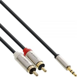 (€1,58*/1m) 5.00m InLine Audio Adapterkabel 3.5mm Klinke Buchse Stereo auf 2xCinch Stecker Schwarz Slim