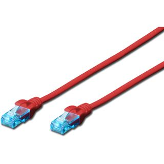 (€3,90*/1m) 1.00m Digitus Cat. 5e Patchkabel U/UTP RJ45 Stecker auf RJ45 Stecker Rot