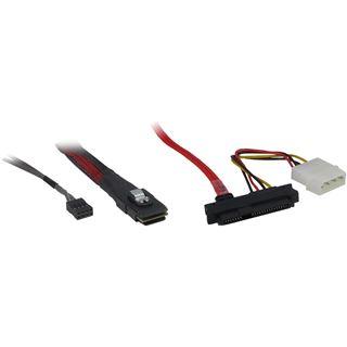 (€59,80*/1m) 0.50m Inter-Tech SAS Adapterkabel SFF-8087 Stecker auf 4xSFF-8482 Schwarz/Rot
