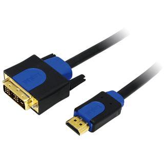(€3,30*/1m) 3.00m LogiLink HDMI Adapterkabel HDMI-Stecker auf DVI 18+1 Stecker Schwarz/Blau vergoldet