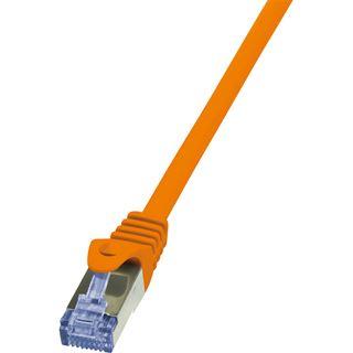 (€4,90*/1m) 1.00m LogiLink Cat. 6a Patchkabel S/FTP PiMF RJ45 Stecker auf RJ45 Stecker Orange