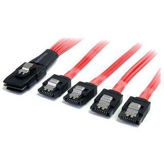 (€30,90*/1m) 1.00m Startech SATA Anschlusskabel SFF-8087 Stecker auf 4xSATA Stecker schwarz