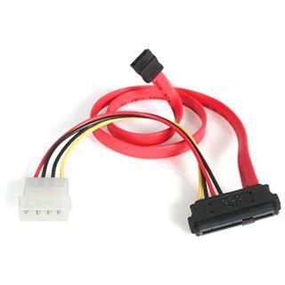 """(€26,44*/1m) 0.45m Startech SAS Adapterkabel SATA Stecker auf SFF-8482 Stecker + 5,25"""" Molex Strom Stecker Rot"""