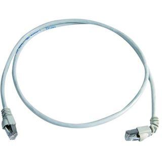 (€1,89*/1m) 10.00m Telegärtner Cat. 6a Patchkabel S/FTP RJ45 Stecker auf RJ45 Stecker gewinkelt Grau halogenfrei
