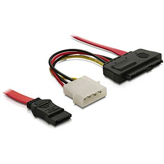 """(€15,80*/1m) 0.50m Delock SAS Adapterkabel SATA Stecker auf SFF-8482 Stecker + 5,25"""" Molex Strom Stecker Schwarz"""