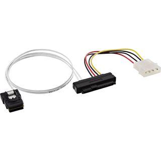 """(€23,80*/1m) 0.50m InLine SAS Anschlusskabel SFF-8087 Stecker auf SFF-8482 Stecker + 5,25"""" Molex Strom Stecker Grau"""