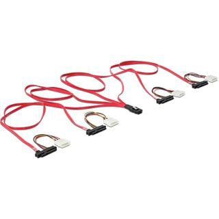(€21,90*/1m) 1.00m Delock SAS 3Gb/s Verbindungskabel mini SAS 36 Pin auf 4xSFF-8482 Schwarz/Rot/Gelb