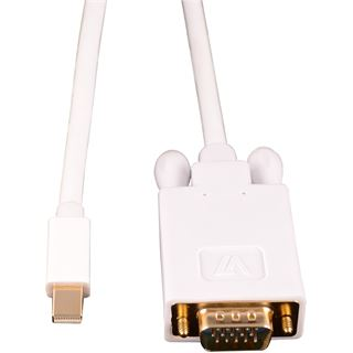(€10,50*/1m) 1.80m V7 Displayport Adapterkabel Mini Displayport Stecker auf VGA 15pol Stecker Weiß